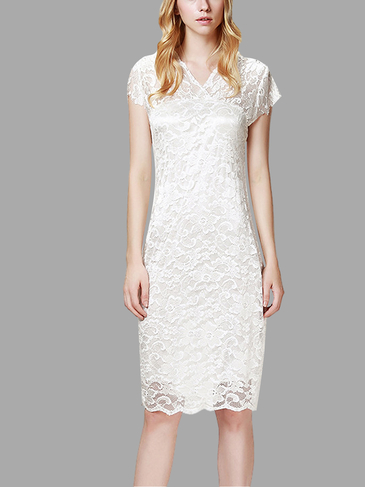 White Lace Mini Dress with V Neck