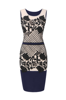 Navy Crochet Body-Conscious Dress