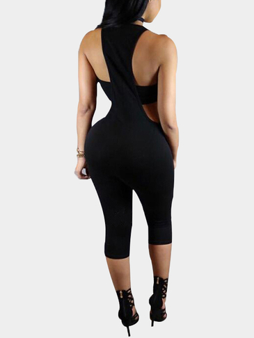 Black Sexy Sleeveless Bodycon Halter Midi Jumpsuit