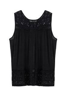 Black Hollow out Crochet Lace Vest with Back Split
