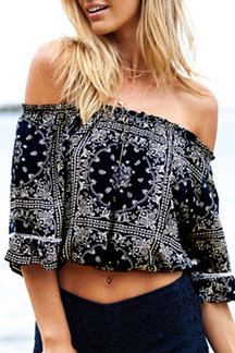 Floral Print Off Shoulder Crop Top