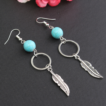 Silver Plated Copper & Turquoise Leaves Pendant Earrings