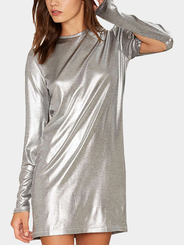 Sliver Fashion Reflective Material Round Neck Sleeevs Splited Dress