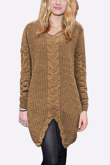 Camel V Neck Long Sleeves Jumper