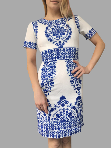 Floral Print Pattern Dress with High Waist Design