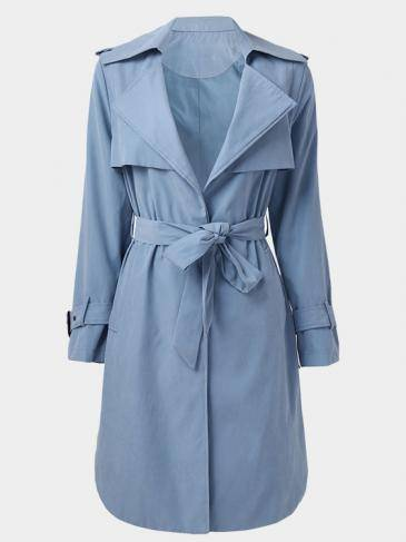 Blue Waist Tie Side Pocket Lapel Neck Trench Coat Outerwear