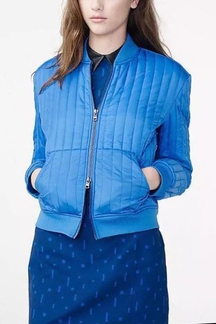 Skyblue Easy-matched Vertical Bar Bomber Jacket