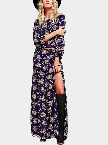 Boho Off Shoulder Slit Design Random Floral Print Cut Out Maxi Dress