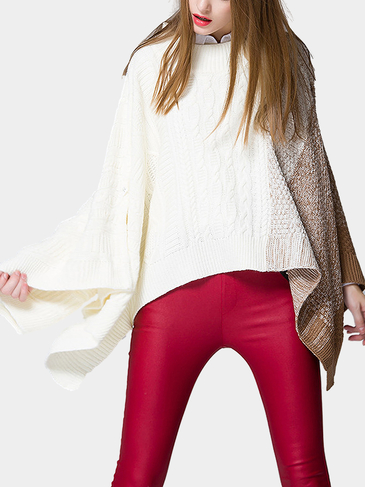 Khaki Color Block Poncho in Knit