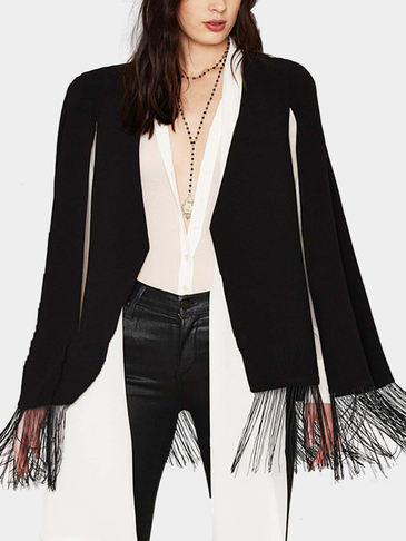Fashion Black Cape Outerwear with Tassel Details