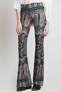 Stylish High-Waisted Printed Boot Cut Flare Trousers