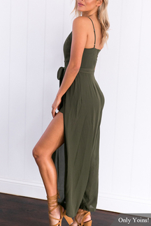 Backless Plunge Thin Shoulder Straps Slit Design Button Front Jumpsuit with Blet