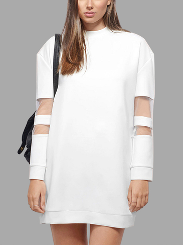 Mesh Insert Long Sleeve Sweatshirt Dress in White