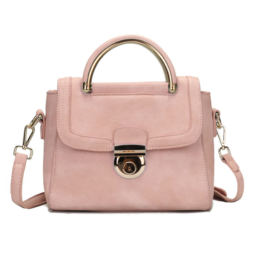 Pink Leather-look Handbag with Hidden Pocket