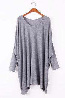Grey Bat Sleeves Loose Knitted Jumper