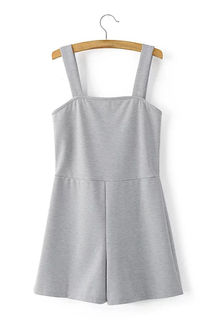 Simple Design Plain Color Sleeveless Playsuit