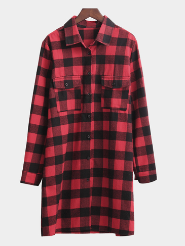Red Classic Collar Button Front Grid Pattern Shirt