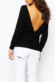 Black Plunge V-Shaped Back Sweater In Cable Knit