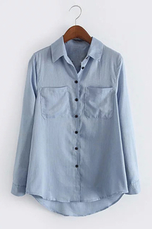 Blue Casual Lapel Long Sleeve Shirt