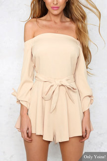Off Shoulder Self-tie Belt Playsuit with Long Sleeves
