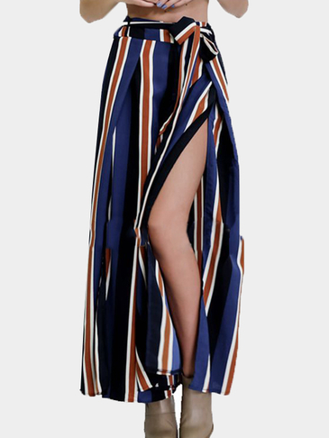 Multi Stripe Pattern Splited Culottes