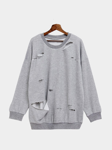 Plain Color Hollow Out Bat-wing Loose Sweatshirt