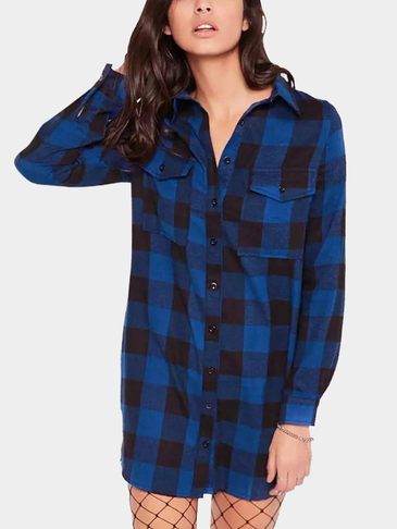 Blue Classic Collar Button Front Grid Pattern Shirt