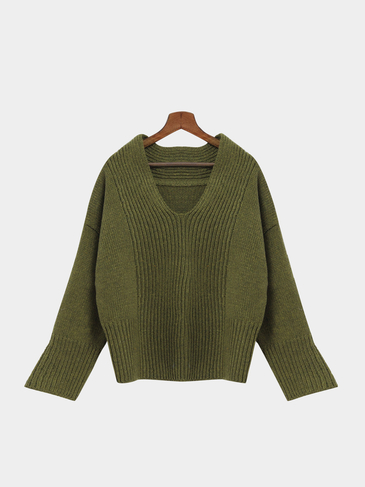 Green V-neck Bat Sleeves Loose Jumper