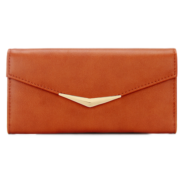 V Bar Foldover Leather-look Long Purse in Brown