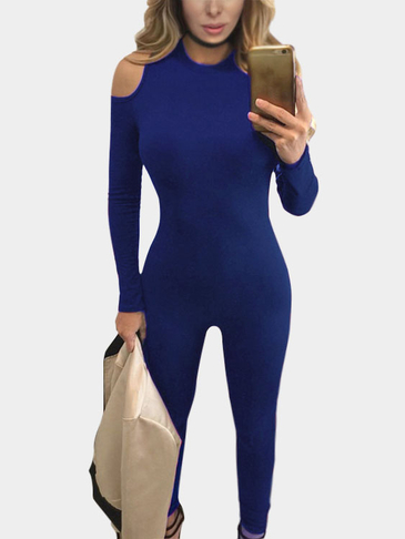 Blue Sexy Bodycon Round Neck Cold Shoulder Jumpsuits