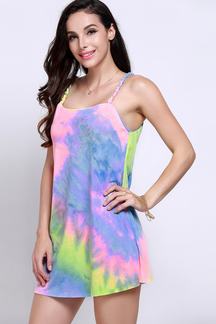 Multicolor Print Sleeveless Mini Dress