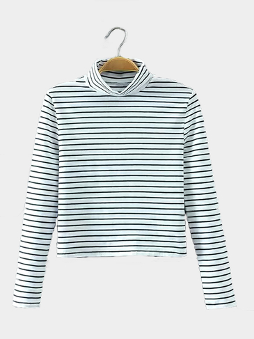 Simple Stripe Long Sleeve Top in White