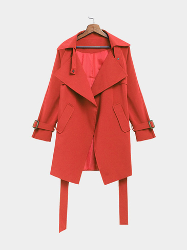 Red Self-tie Waist Button Details Lapel Collar Coat
