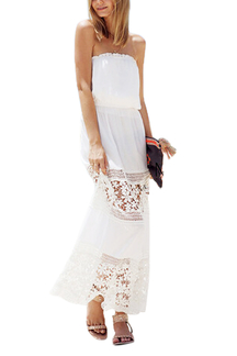 Strapless Maxi Dress With Lacy Crochet Details