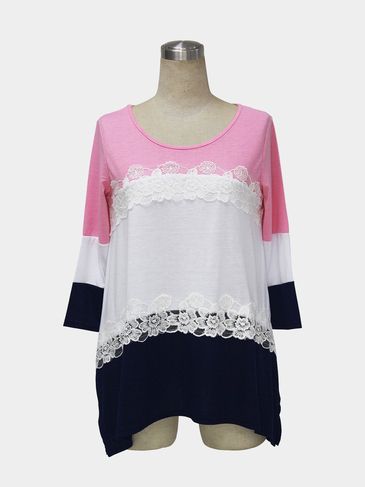 Color Block Stitching Blouse with Lace Detail in Pink