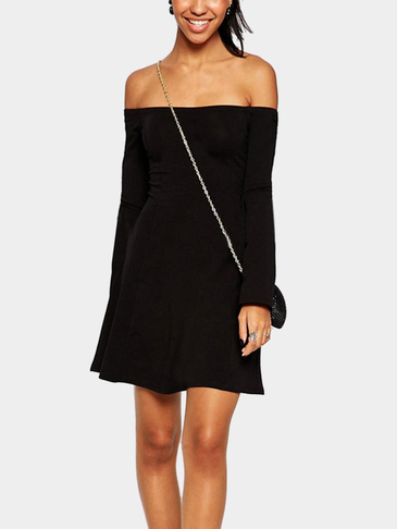 Fashion Off Shoulder Long Sleeves Mini Dress