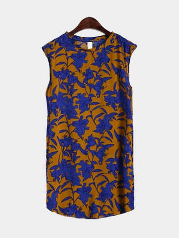 Retro Floral Print Sleeveless Mini Dress with Curved Hem