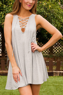 Light Grey Lace-up Sleeveless A-line Top