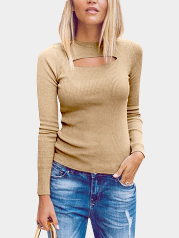 Khaki Knitted Round Neck Hollow Front Design Bottoming T-shirt