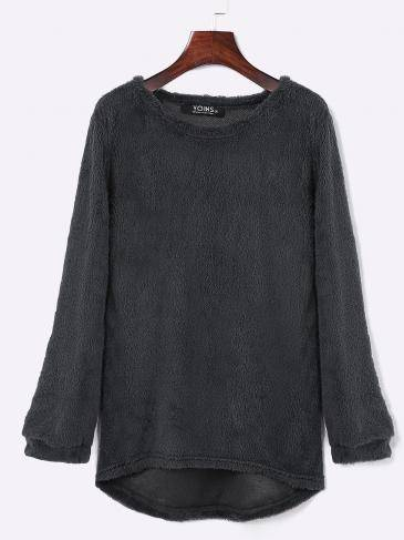 Dark Grey Round Neck Long Sleeves Sweater Top