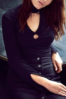 Sexy Black Long Sleeves V-neck Shirt