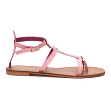 Pink Leather Look Stud Design Wrap Strap Gladiator Sandals