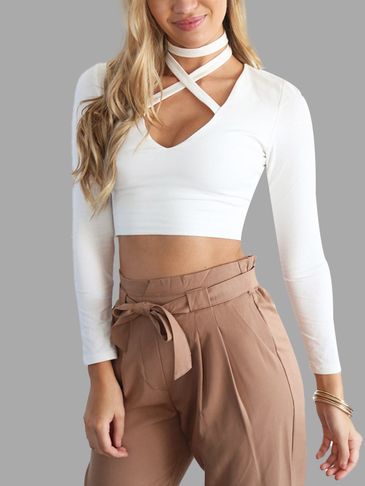 Белый Sexy Холтер Дизайн Bodycon Crop