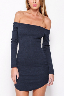 Rib Knit Dress In Off Shoulder Shape