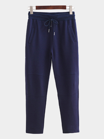 Navy Casual Style Trousers