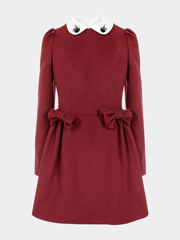 Burgundy Peter Pan Bow Skater Dress