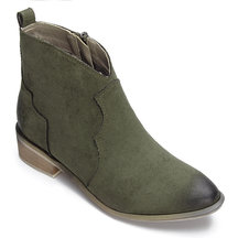 Green Suede Zipper Design Flat Ankle Boots