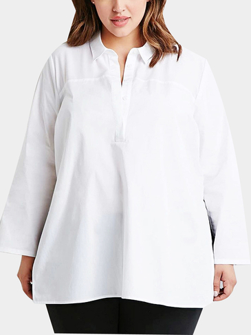 Plus Size Split Side White Shirt