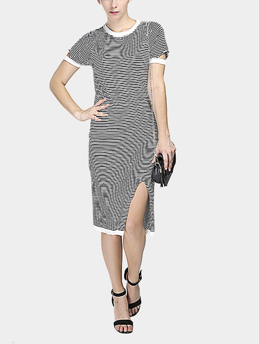 White Stripe Pattern Front Split Dress with Splicing Details