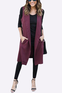 Burgundy Lightweight Lapel Collar Sleeveless Long Trench Coat